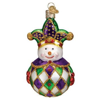 Harlequin Snowman Glass Ornament
