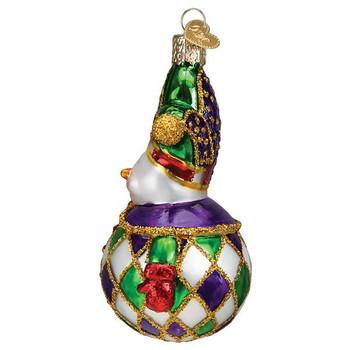 Harlequin Snowman Glass Ornament side