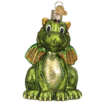 Little Green Dragon Glass Ornament