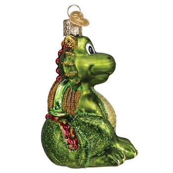 Little Green Dragon Glass Ornament right side