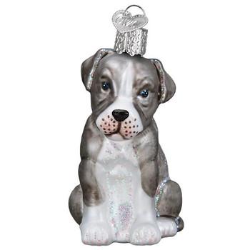 Pitbull Puppy Glass Ornament