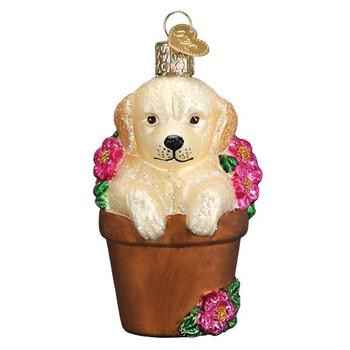 Puppy in Flower Pot Glass Ornament