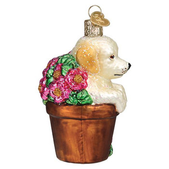 Puppy in Flower Pot Glass Ornament right side