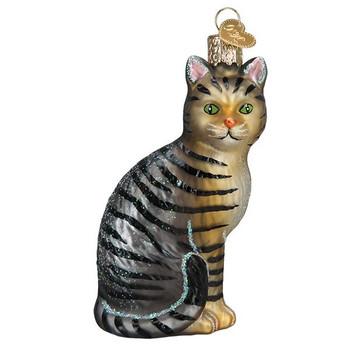 "Tabby Cat Glass Ornament, 4 1/4"", OWC# 12554"