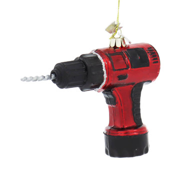 Red Power Drill Tool Glass Ornament