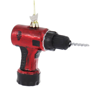 Red Power Drill Tool Glass Ornament side