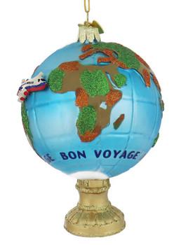 Bon Voyage Travel Globe Glass Ornament left side