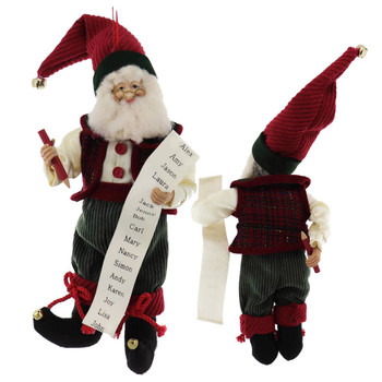 Premium Bendable Workshop Elf Doll Ornament or Shelf Sitter list front back