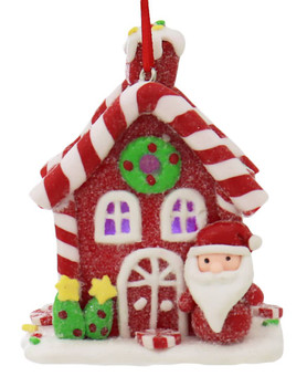 Candy Stripe Roof LED Light Up Gingerbread House Ornament red front