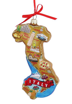 Highlights of Italy Map Glass Ornament