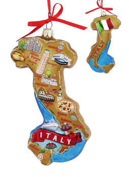 Highlights of Italy Map Glass Ornament main