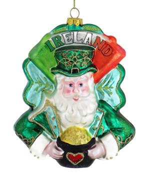 Love Ireland Santa Glass Ornament