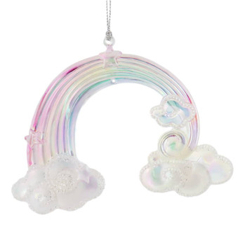 Pastel Plastic Rainbow on Clouds Ornament white clouds front