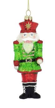 Super Sparkle Nutcracker Glass Ornament green jacket front