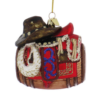Western Barrel with Saddle Glass Ornament