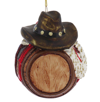 Western Barrel with Saddle Glass Ornament  front
