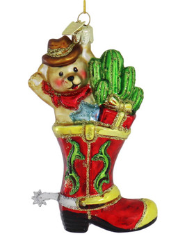 Cowboy Teddy Western Boot Glass Ornament red boot right side