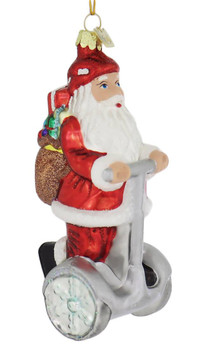 Segway Style Upright Scooter Santa Ornament