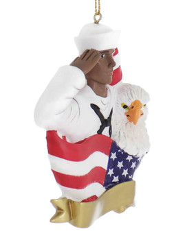 African American Sailor Ornament side