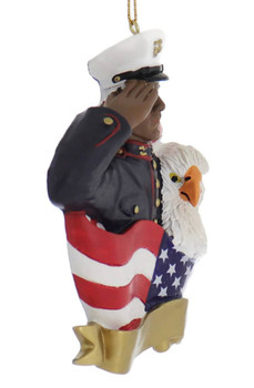 African American Marine Ornament side