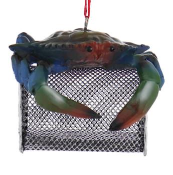 Blue Crab Trap Ornament front