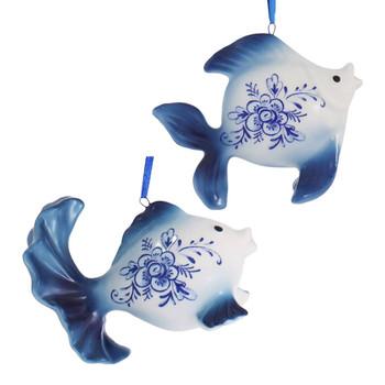Delft Blue Style Fancy Goldfish Ornament