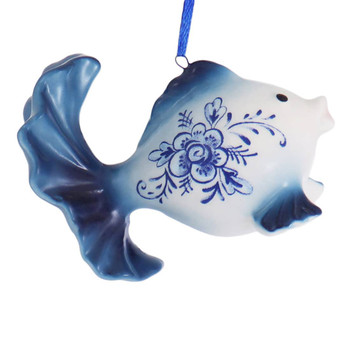 Delft Blue Style Fancy Goldfish Ornament round right side