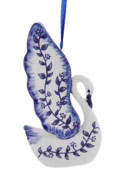 Delft Blue Style Vine Design Swan Ornament head down right side