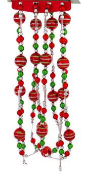 Silver, Red and Green Shiny Balls Christmas Tree Garland