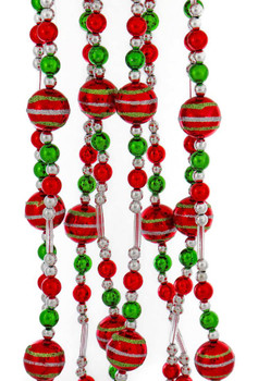 Silver, Red and Green Shiny Balls Christmas Tree Garland larger view