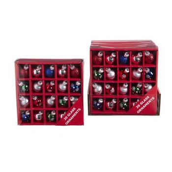 20 pc Mini Christmas Balls Ornament Set - Silver Color Theme