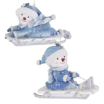 Blue White Theme Snow Child Sledding Ornament