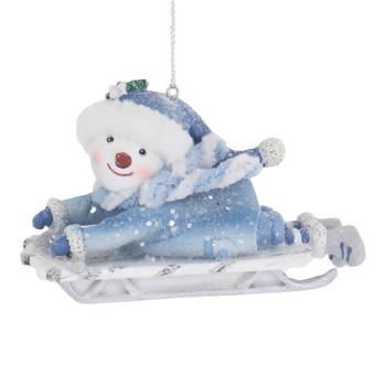 Blue White Theme Snow Child Sledding Ornament belly left side