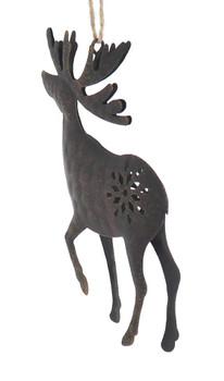 Brown Metal Moose Wildlife Ornament back