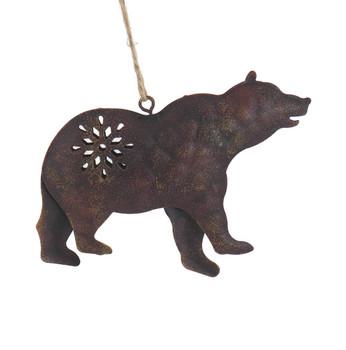 Brown Metal Bear Wildlife Ornament