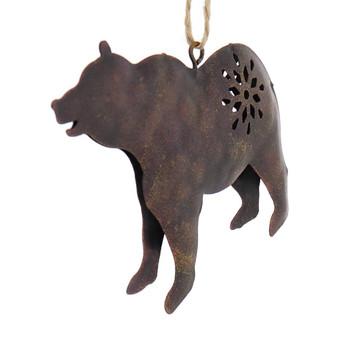 Brown Metal Bear Wildlife Ornament front left