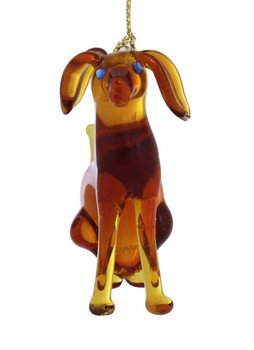 Dog Mouth-Blown Egyptian Glass Ornament front