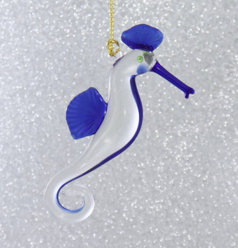 Seahorse Mouth-Blown Egyptian Glass Ornament right side