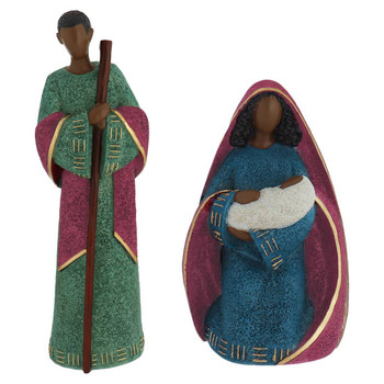 Large African American Nativity - 7 piece Set joseph and mary front