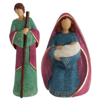 Large Caucasian Nativity - 7 piece Set joesph /mary front