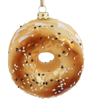 Everything Bagel Glass Ornament