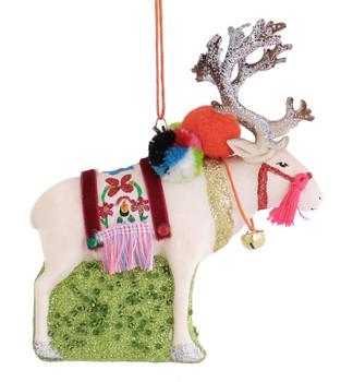 White Reindeer Glass Ornament