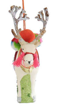 White Reindeer Glass Ornament front