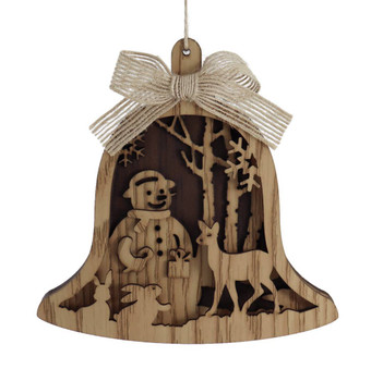 Laser Cut Woodland Snowman Wood Ornament