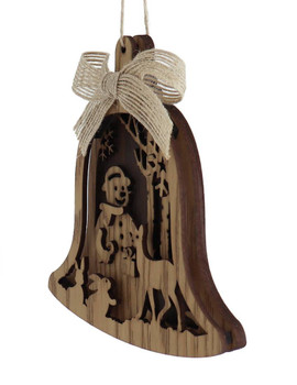 Laser Cut Woodland Snowman Wood Ornament left front