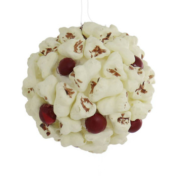 Fake Cranberries and Popped Popcorn Ball Ornament back