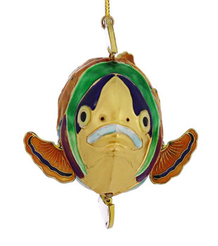 Orange Articulated Cloisonne Fish Ornament front