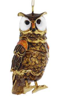 Cloisonne Articulated Large Owl Ornament