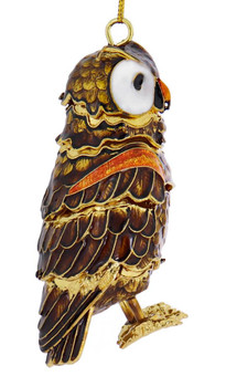 Cloisonne Articulated Large Owl Ornament right side