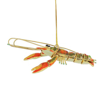 Decorated Articulated Cloisonne Orange Lobster Ornament